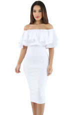 Gaun Midi Off Layered Ruffle Off Shoulder