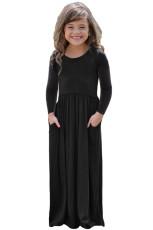 Vestido maxi de manga larga negro con diseño de bolsillo para niñas