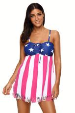 Amerikanische Flagge Quaste Spaghetti Strap Badeanzug