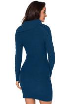 Asymetryczna zapinana na guziki kołnierzyk Biscay Bodycon Sweter Dress
