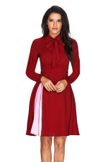 Patchwork Tie Neck Lengan Panjang Burgundy Flared Dress