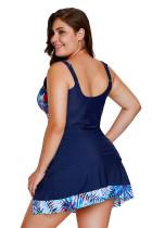 2pcs Detail tropického tisku Navy Blue koupací oblek