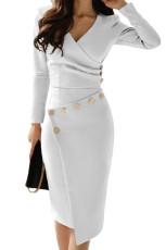 Detail Tombol Asymmetric White Ruched Midi Dress