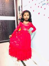 붉은 꽃 레이스 꽃 소녀 맥시 드레스