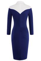 Paita tyyli Patchwork sininen midi mekko