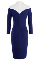 Hemdart Patchwork Blau Midi Kleid