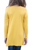 Mustard Twist Knot Detail lange mouwen dames top
