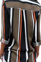 ブラックブラウンストライプモダンレディースシャツ