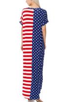 Tähdet ja raidallinen V-Neck Pocket Maxi mekko