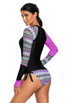 Contrast Purple Detail Long Sleeve Tankini Swimsuit