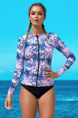 Blå Pink Little Flower Zipped Rashguard Top