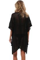 Musta Crochet Neulottu Tassel Tie Kimono Beachwear