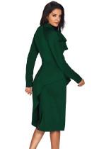 جید سبز نامتقارن Peplum سبک لباس گربه بیدمشک