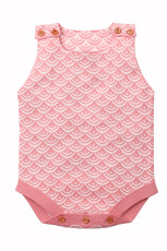 Pink Fish Scale Knit Knäppt Baby Romper