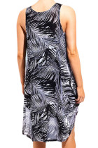 Monochrome Palm Tree schiere Chiffon Strandkleid
