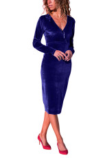 Royal Blue V Neck Gaun Sleek Velvet Midi