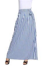 Lyseblå Stripet Maxi Nederdel