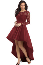 Burgundy Langærmet Lace High Low Satin Prom Kjole