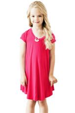 작은 소녀를위한 장미 빛 모자 슬리브 튜닉 복장