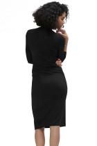 Black Long Sleeve Lipit Bungkus Midi Dress