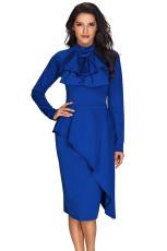 ロイヤルブルー非対称ピープルスタイルプッシーボウドレス