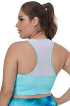 Lichtblauwe Mouwloze Yoga-beha met Racerback plus maat