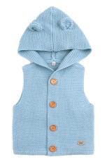 사파이어 귀여운 귀 두건을 한 유아 스웨터 조끼