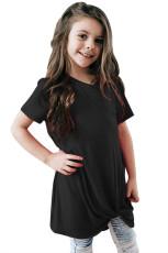 Zwart Twist Drape shirt met korte mouwen voor meisjes