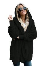 Sort Soft Fleece Hooded Open Front Coat