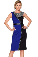 Biru Hitam Asymmetric Patchwork Leather Potong Sheath Dress