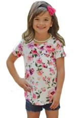 Putih Merah Muda Floral Print Girls 'Lengan Pendek Tee