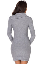 Asymetryczny kołnierzyk zapinany na guziki Grey Bodycon Sweater Dres