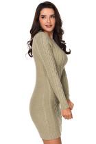 Khaki Slouchy kabelové svetr šaty