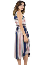 Merah muda bergaris biru tanpa lengan Midi Dress