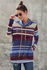 파란색 멀티 컬러 카우 넥 스트 라이프 긴 소매 스웨터