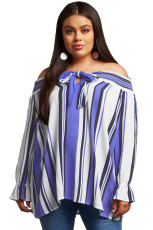 Blå Striped Plus Size Off Shoulder Blouse