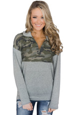 Camo Splice Grey Kangaroo Buzunar Zip Collar Sweatshirt