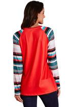 Red Letter Print Striped T-skjorte med langermet skjorte