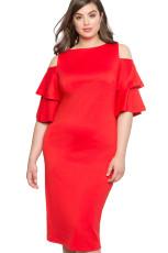 Piros Plus Size Mellény ujjú hideg váll ruhában