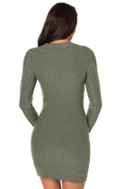Exército Verde Slouchy Cable Sweater Dress