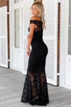 Sort Bardot Lace Fishtail Maxi Kjole