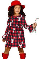 Buffalo ekose Ren geyiği Noel küçük kız elbise