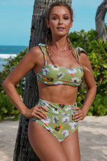 Costume da bagno a vita alta con bikini a fascia a fascia fantasia floreale verde