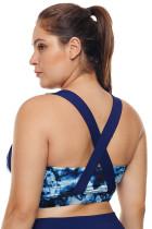 Lukisan Abstrak Biru berbentuk U Leher Plus Ukuran Sport Bra