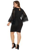 Siyah Dantel Çarpıntı Kol Plus Size Bodycon Elbise