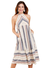 Gaun Fashion Midi Bohemian Garis-Garis Putih