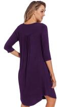 Фиолетовый Quarter Sleeve Casual Tunic Dress