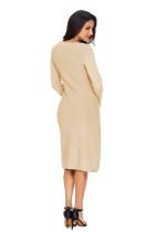 Khaki dámské ručně pletený svetr šaty