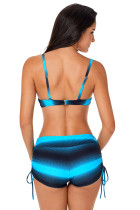 Biru Hitam Ombre Shading Push Up Bikini dan Boardshort