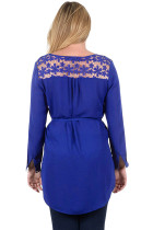 Navy Blue Lace Embellished Long Tail Plus Størrelse Top